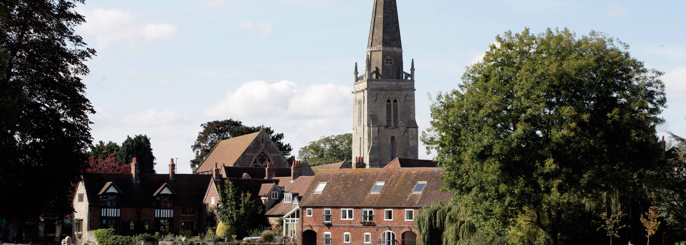 The Thames riverside location of The Old Gaol in Abingdon-on-Thames, near Oxford, Oxfordshire, offering luxury serviced apartments.