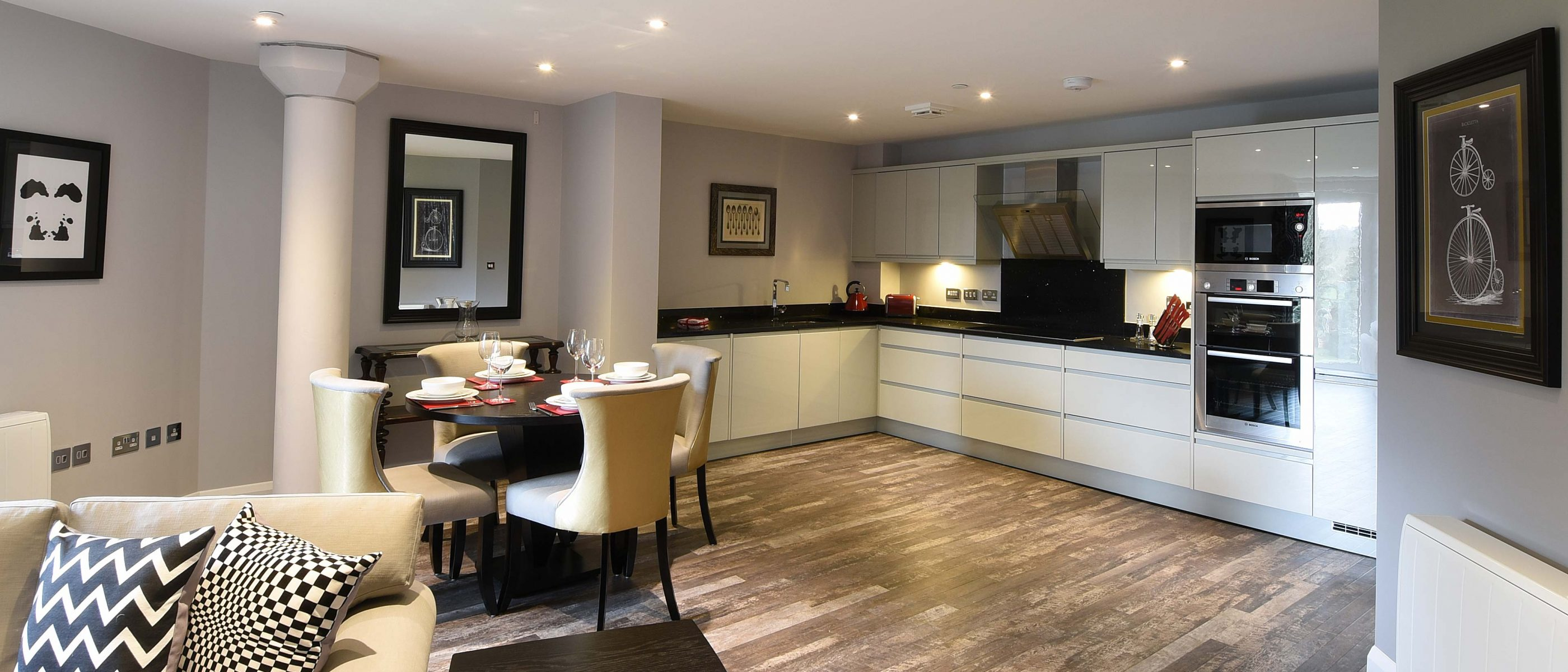 Living area in the Burford Suite: a one bedroom luxury serviced apartment at The Old Gaol, by the River Thames in Abingdon, near Oxford. Ideal accommodation for corporate or holiday short lets