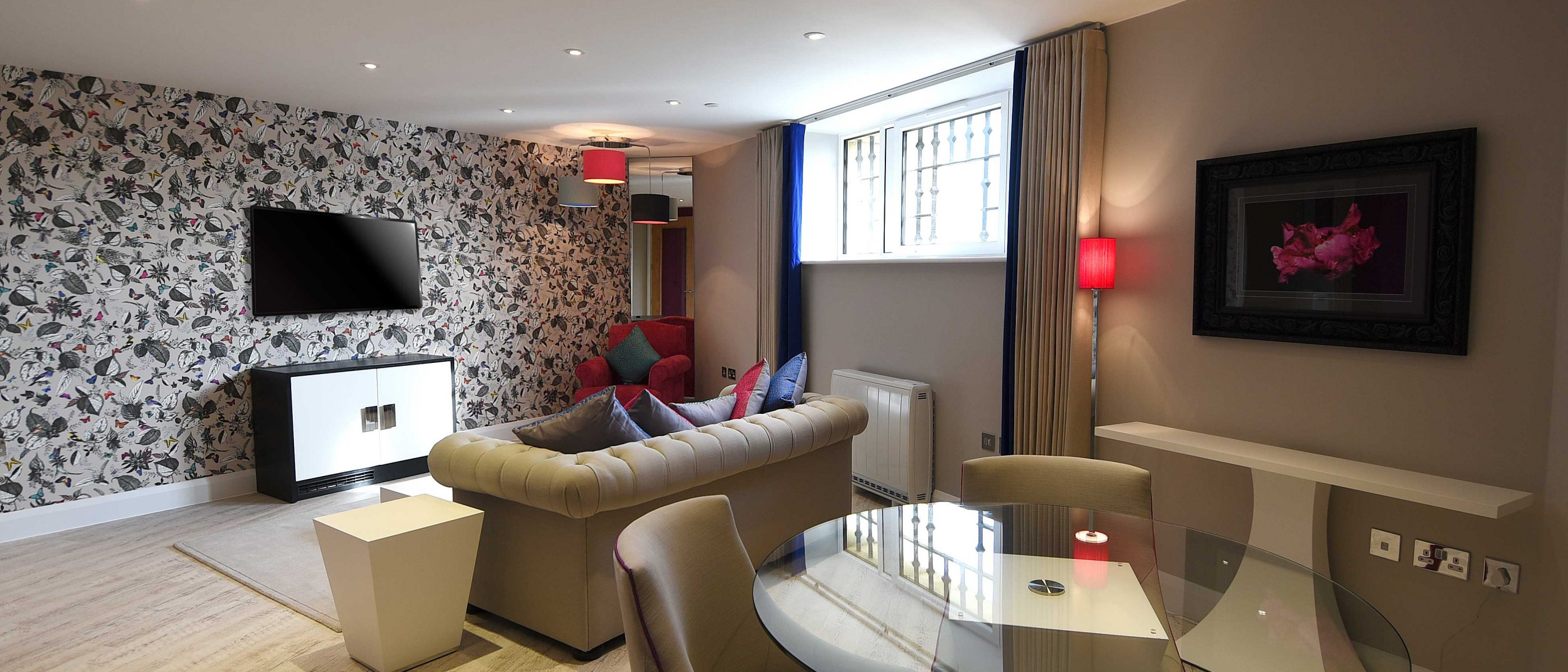 The lounge in the Thames Suite: a one bedroom luxury serviced apartment at The Old Gaol, by the River Thames in Abingdon, near Oxford. Ideal accommodation for corporate or holiday short lets