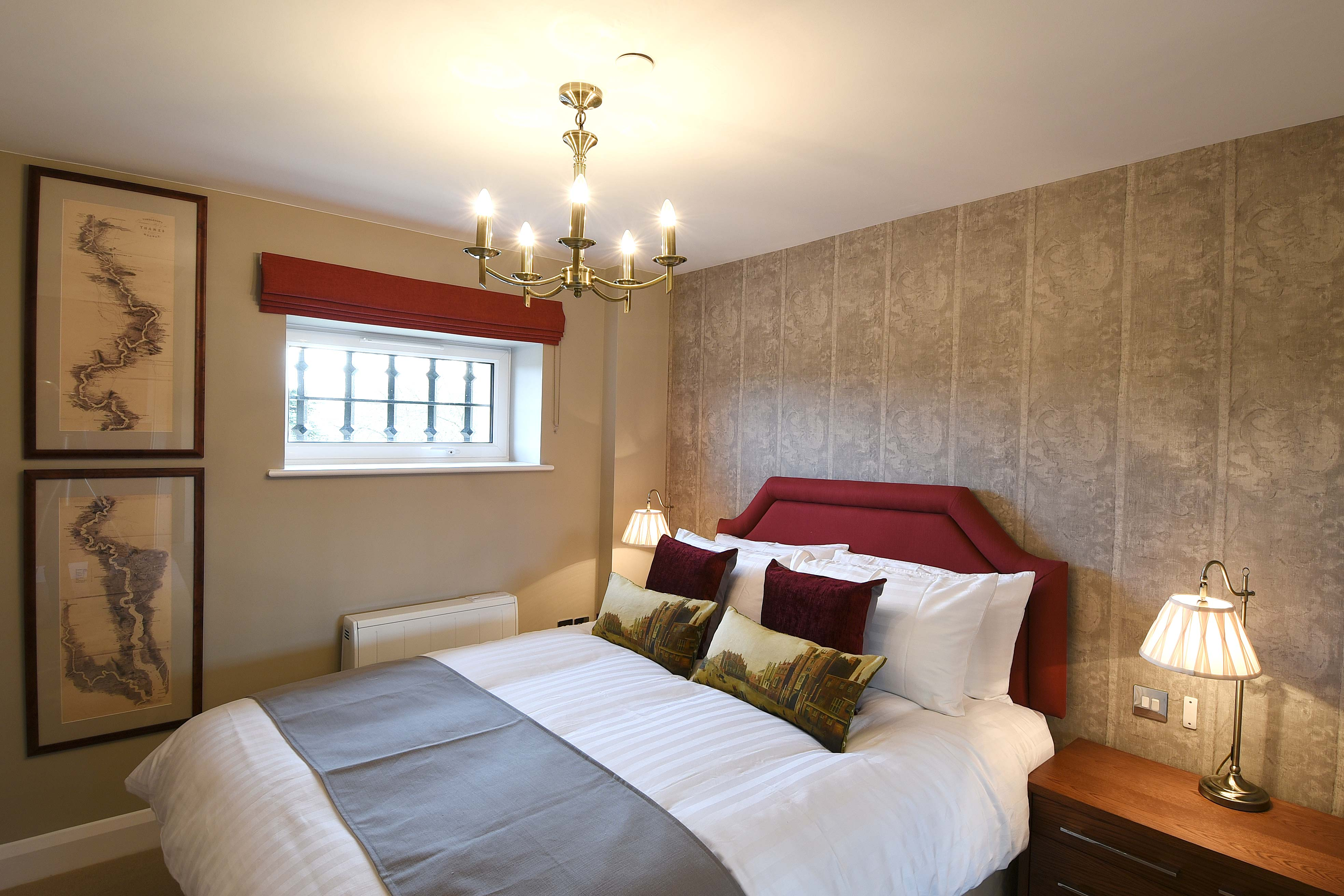 Bedroom in the Tomkins Suite: 1 bedroom luxury riverside serviced apartment at The Old Gaol in Abingdon, near Oxford. Ideal accommodation for corporate or holiday short lets