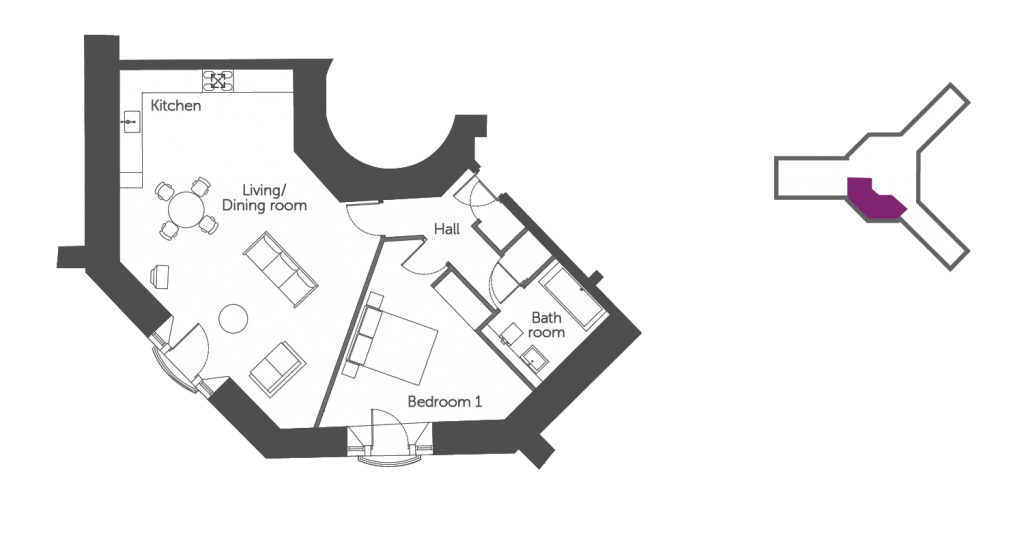 Floorplan of the Burford Suite: a luxury serviced apartment at The Old Gaol by the river Thames in Abingdon. Ideal accommodation for business or holiday short lets
