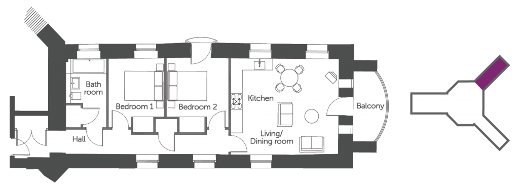 Floorplan of the Daniel Harris Suite: a luxury serviced apartment at The Old Gaol by the river Thames in Abingdon. Ideal accommodation for corporate or holiday short lets
