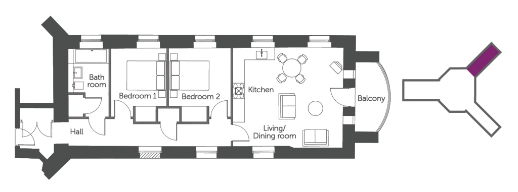 Floorplan of the Morland Suite: a 2 bedroom luxury serviced apartment at The Old Gaol by the river Thames in Abingdon. Ideal accommodation for corporate or holiday short let
