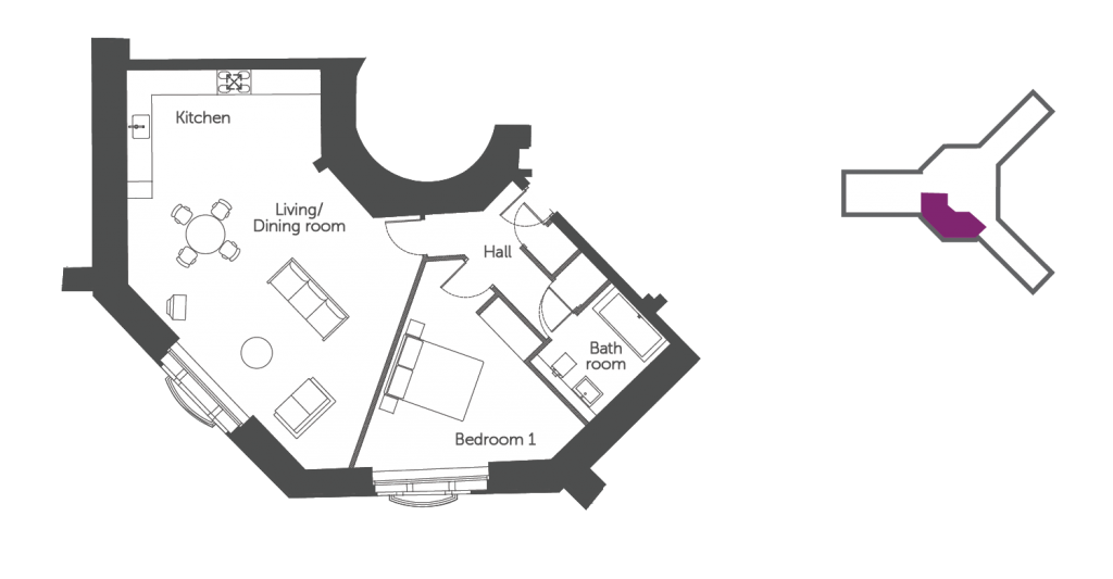 Floorplan of The Thames Suite: 1 bedroom luxury riverside serviced apartment at The Old Gaol in Abingdon, nr Oxford. Ideal accommodation for corporate or holiday short let