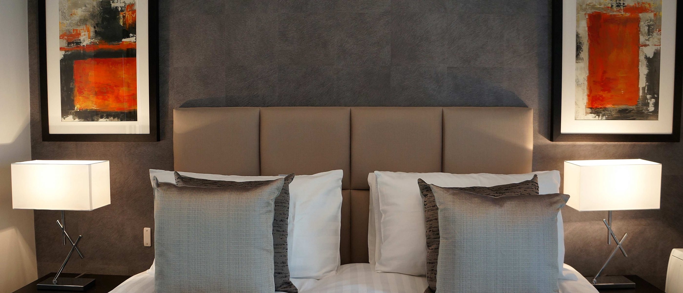 The bedroom in the Daniel Harris Suite: a one bedroom luxury serviced apartment at The Old Gaol, by the River Thames in Abingdon, near Oxford. Ideal accommodation for corporate or holiday short lets