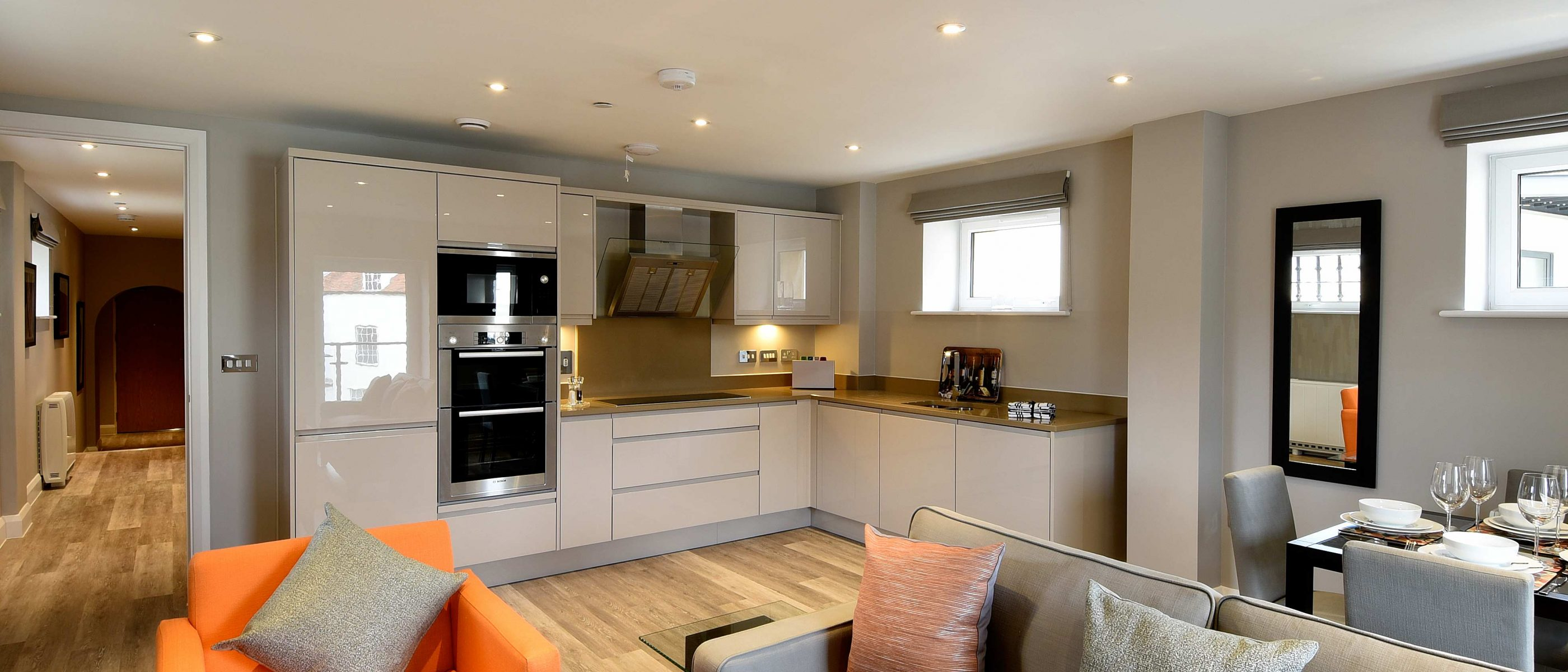 The living area in the Daniel Harris Suite: a one bedroom luxury serviced apartment at The Old Gaol, by the River Thames in Abingdon, near Oxford. Ideal accommodation for corporate or holiday short lets