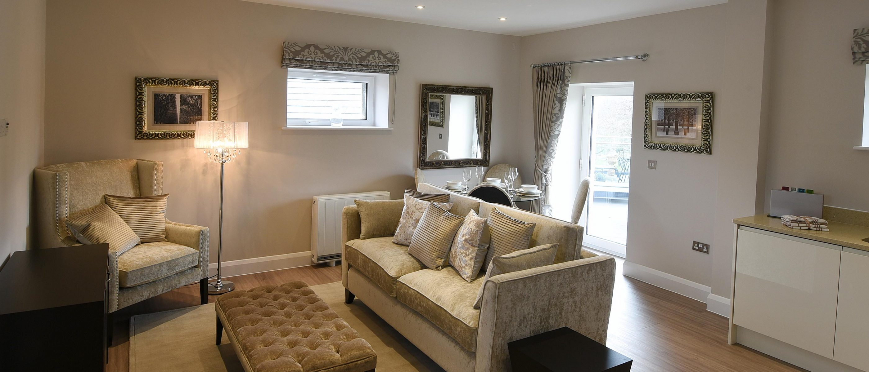Living area in the Roysse Suite: a one bedroom luxury serviced apartment at The Old Gaol, by the River Thames in Abingdon, near Oxford. Ideal accommodation for corporate or holiday short lets