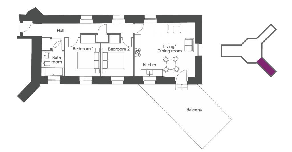 Floorplan of The Roysse Suite: a 2 bedroom luxury serviced apartment at The Old Gaol in Abingdon, Oxfordshire. Ideal accommodation for corporate or holiday short let