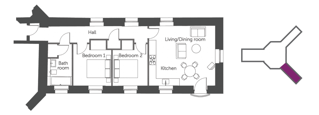 Floorplan of The Tomkins Suite at The Old Gaol, Abingdon. 2-bedroom luxury serviced apartment with spectacular river views. Ideal for corporate or holiday short lettings